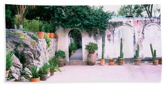 Potted Plants In Courtyard Of A House Bath Towel