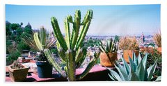 Potted Plants On Terrace Of A Building Bath Towel