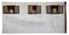 Hand Towel featuring the photograph Pottery In The Windows - Slovenia by Stuart Litoff