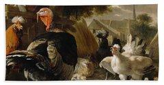 Poultry Yard Hand Towel by Melchior de Hondecoeter