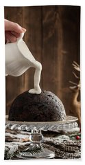 Pouring Cream Over Christmas Pudding Hand Towel