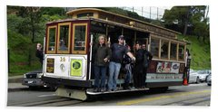 Bath Towel featuring the photograph Powell And Market Street Trolley by Steven Spak