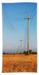 Bath Towel featuring the photograph Power Lines At Sunrise by Lars Lentz