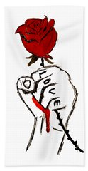 Power Of Love Hand Towel by Lucy Frost
