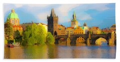 Praha - Prague - Illusions Hand Towel by Tom Cameron