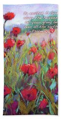 Praising Poppies With Bible Verse Hand Towel