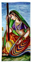 Krishna - Prayer Bath Towel by Harsh Malik