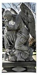 Praying Cemetery Angel  Bath Towel by Gary Whitton