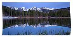 Pre Dawn Image Of The Continental Divide And A Sprague Lake Refl Bath Towel