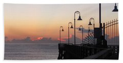Pre-sunrise On Daytona Beach Pier   Hand Towel