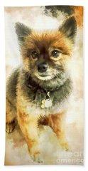 Precious Pomeranian Bath Towel by Tina LeCour