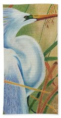 Preening Egret Bath Towel by Peter Piatt
