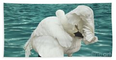 Hand Towel featuring the photograph Preening Trumpeter Swan  by Janette Boyd