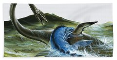 Prehistoric Creatures Hand Towel by David Nockels