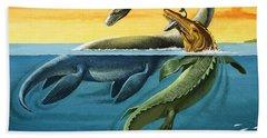 Prehistoric Creatures In The Ocean Hand Towel by English School