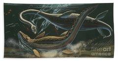 Prehistoric Marine Animals, Underwater View Hand Towel by American School