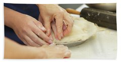 Preparing And Making Apple Pies Hand Towel
