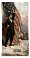 President Abraham Lincoln Giving A Speech Hand Towel