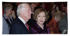 Hand Towel featuring the photograph President And Mrs. Jimmy Carter Nobel Celebration by Jerry Battle