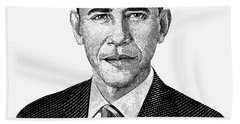 President Barack Obama Graphic Black And White Hand Towel by War Is Hell Store
