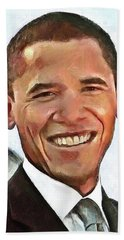 Hand Towel featuring the painting President Barack Obama by Wayne Pascall