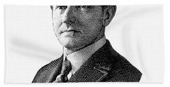 President Calvin Coolidge Graphic - Black And White Hand Towel