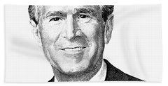 President George W. Bush Graphic - Black And White Hand Towel by War Is Hell Store