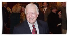 Hand Towel featuring the photograph President Jimmy Carter - Nobel Peace Prize Celebration by Jerry Battle