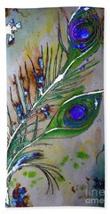Bath Towel featuring the painting Pretty As A Peacock by Denise Tomasura