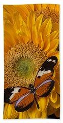 Pretty Butterfly On Sunflowers Bath Towel