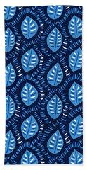 Pretty Decorative Blue Leaves Pattern Bath Towel