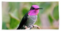 Pretty In Pink Anna's Hummingbird Bath Towel