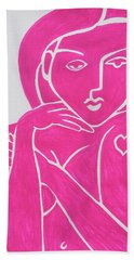 Pretty In Pink Tattoo Girl Poster Print  Hand Towel