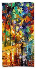 Pretty Night - Palette Knife Oil Painting On Canvas By Leonid Afremov Hand Towel