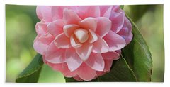 Pretty Pink Camellia 2- Photography By Linda Woods Bath Towel