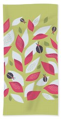 Pretty Plant With White Pink Leaves And Ladybugs Hand Towel