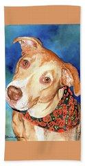 Pretty Please, Dog Portrait, Dog Painting, Dog Print, Dog Art Hand Towel