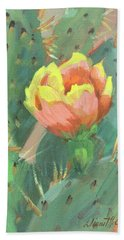 Hand Towel featuring the painting Prickly Pear Cactus Bloom by Diane McClary