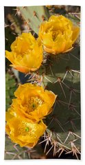Prickly Pear Cactus Flowers Hand Towel