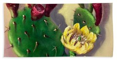 Bath Towel featuring the painting Prickly Pear Cactus by Randol Burns