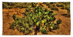 Prickly Pear In Bloom With Brittlebush And Cholla For Company Bath Towel