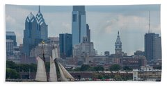 Pride Of Baltimore II Philadelphia Skyline Hand Towel by Terry DeLuco