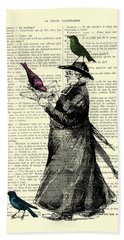Priest And Birds Hand Towel