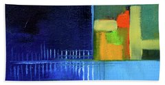 Hand Towel featuring the painting Primary Blue Abstract by Nancy Merkle