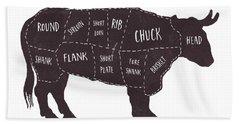 Primitive Butcher Shop Beef Cuts Chart T-shirt Bath Towel