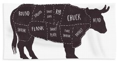 Primitive Butcher Shop Beef Cuts Chart T-shirt Bath Towel
