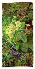 Primrose And Robin Hand Towel by William John Wainwright