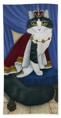 Hand Towel featuring the painting Prince Anakin The Two Legged Cat - Regal Royal Cat by Carrie Hawks