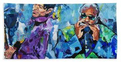 Prince And Stevie Hand Towel by Richard Day