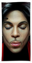 Bath Towel featuring the painting Prince Artwork 2 by Sheraz A